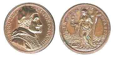 Medal of Pope Innocent XI, struck in 1680. The Woman with the cup in her hand.
